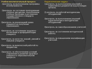 Учебно-воспитательный процесс: 1)контроль за выполнением программы всеобучаем