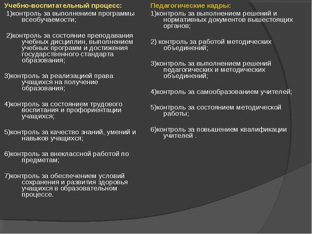 Учебно-воспитательный процесс: 1)контроль за выполнением программы всеобучаем...