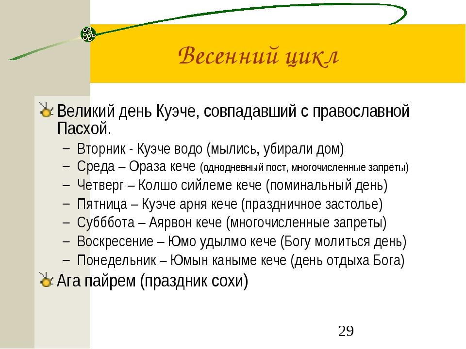 Весенний цикл Великий день Куэче, совпадавший с православной Пасхой. Вторник...