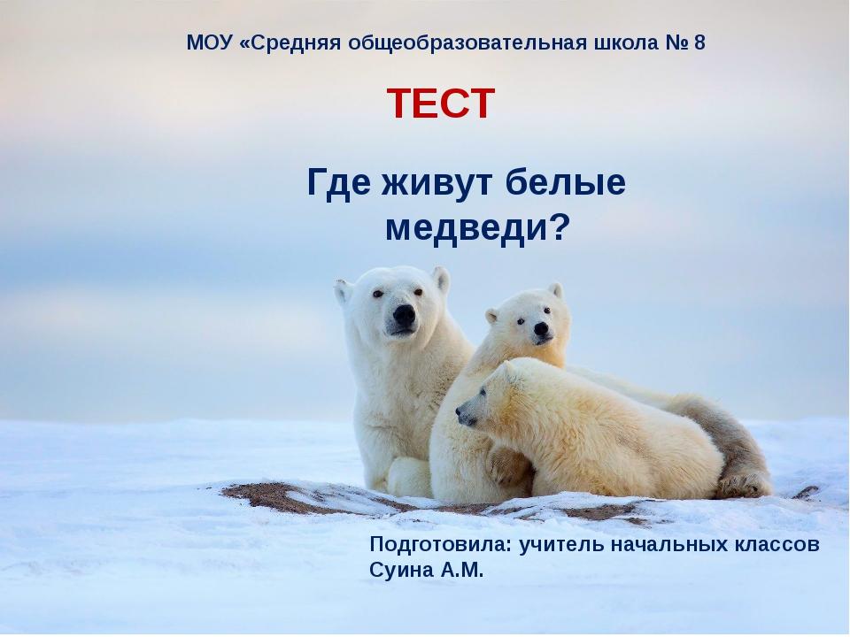 Где живут белые медведи? ТЕСТ МОУ «Средняя общеобразовательная школа № 8 Под...