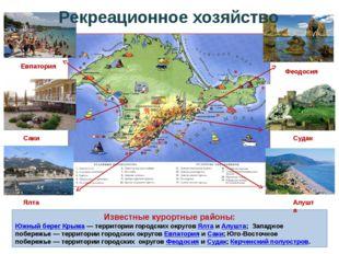 Известные курортные районы: Южный берег Крыма— территории городских округов