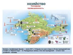 Уровень газификации Крыма— около 80%. В Крыму на суше открыто 26 месторожд