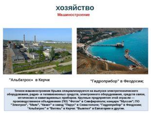 хозяйство Точное машиностроение Крыма специализируется на выпуске электротехн