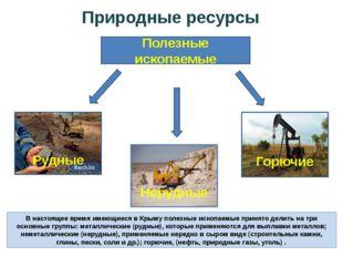 Природные ресурсы В настоящее время имеющиеся в Крыму полезные ископаемые при