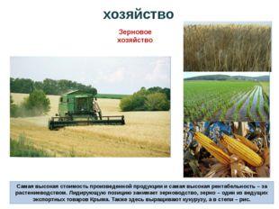 хозяйство Зерновое хозяйство Самая высокая стоимость произведенной продукции
