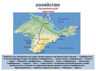 Главной осью автомобильных дорог Крыма является автомагистраль Москва — Симфе