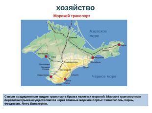 Самым традиционным видом транспорта Крыма является морской. Морские транспорт