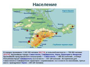 В городах проживало 1 163 245 человек (62,7%), в сельской местности— 730 00