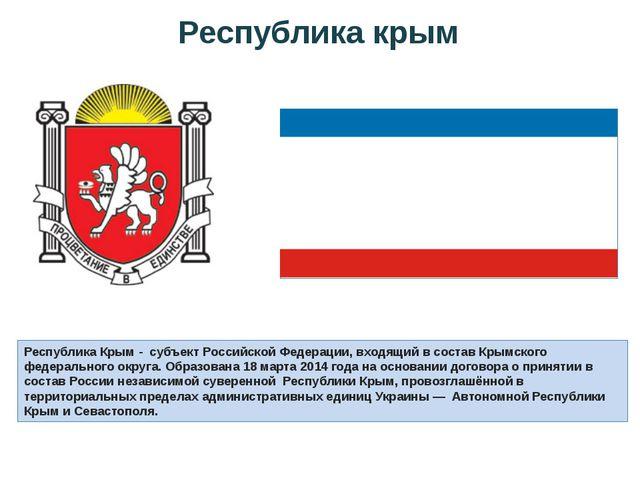 Республика Крым - субъект Российской Федерации, входящий в составКрымского...