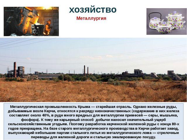 Металлургическая промышленность Крыма — старейшая отрасль. Однако железные ру...