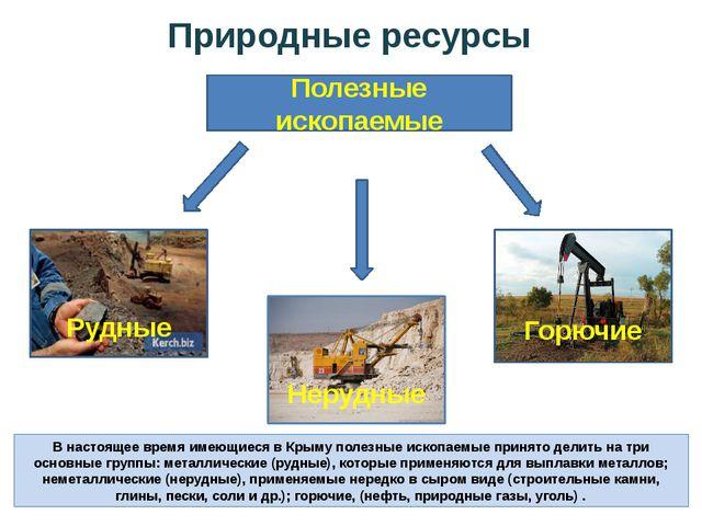 Природные ресурсы В настоящее время имеющиеся в Крыму полезные ископаемые при...