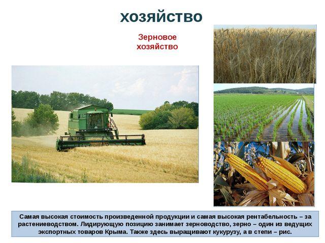 хозяйство Зерновое хозяйство Самая высокая стоимость произведенной продукции...
