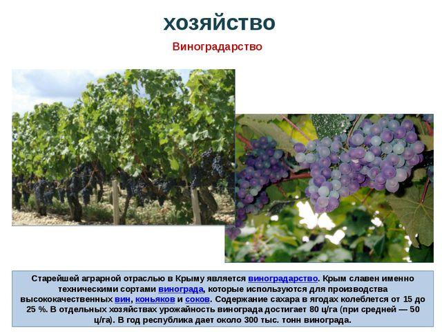 Старейшей аграрной отраслью в Крыму являетсявиноградарство. Крым славен имен...