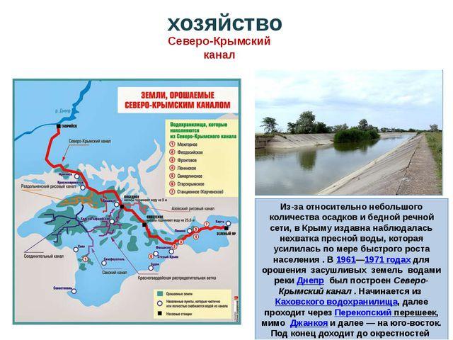 Из-за относительно небольшого количества осадков и бедной речной сети, в Крым...