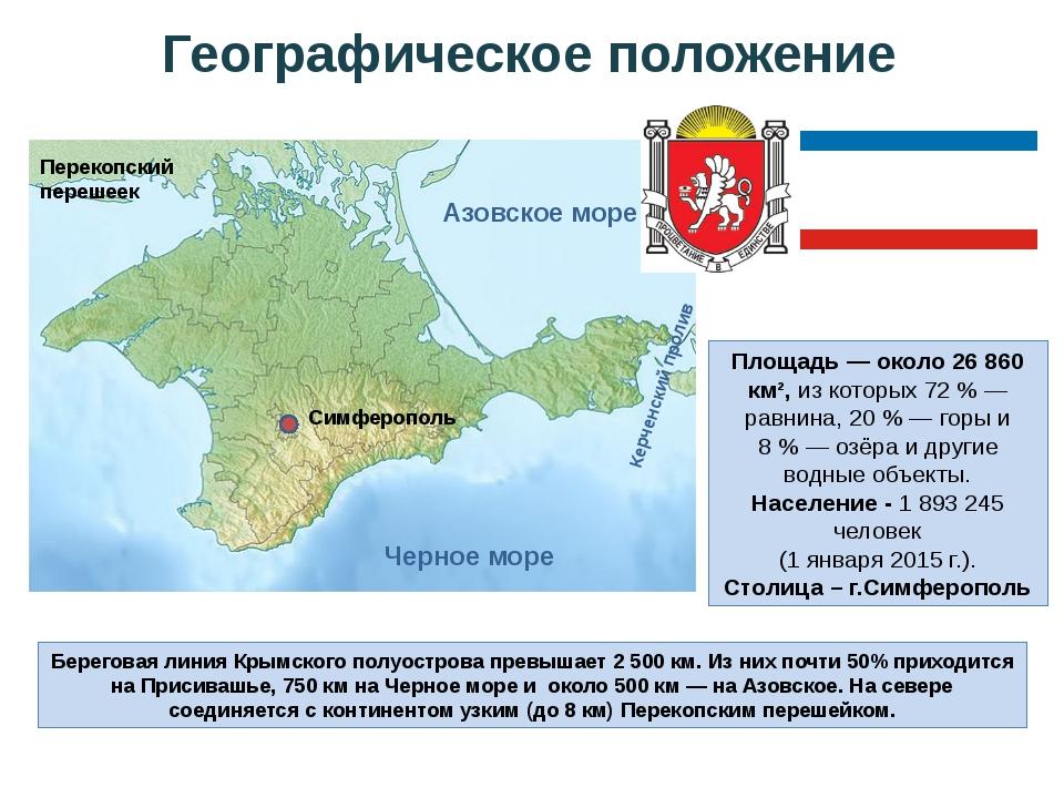 Географическое положение Азовское море Перекопский перешеек Черное море Симфе...
