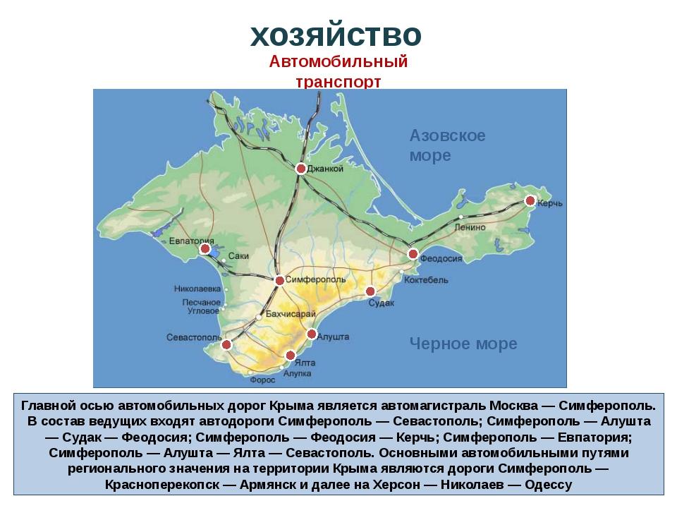 Главной осью автомобильных дорог Крыма является автомагистраль Москва — Симфе...
