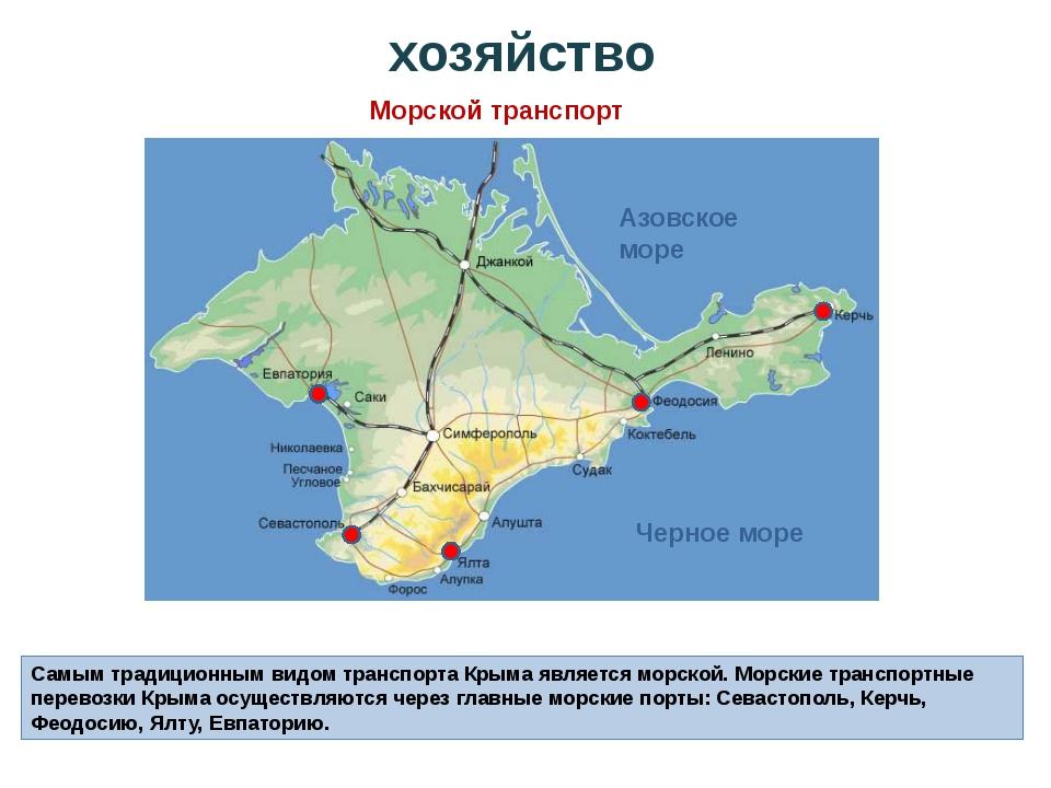 Самым традиционным видом транспорта Крыма является морской. Морские транспорт...