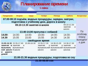 Планирование времени 1 смена Понедельник Вторник Среда Четверг Пятница Суббот