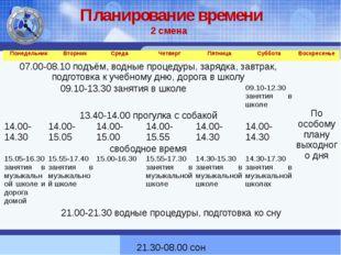 Планирование времени 2 смена Понедельник Вторник Среда Четверг Пятница Суббот
