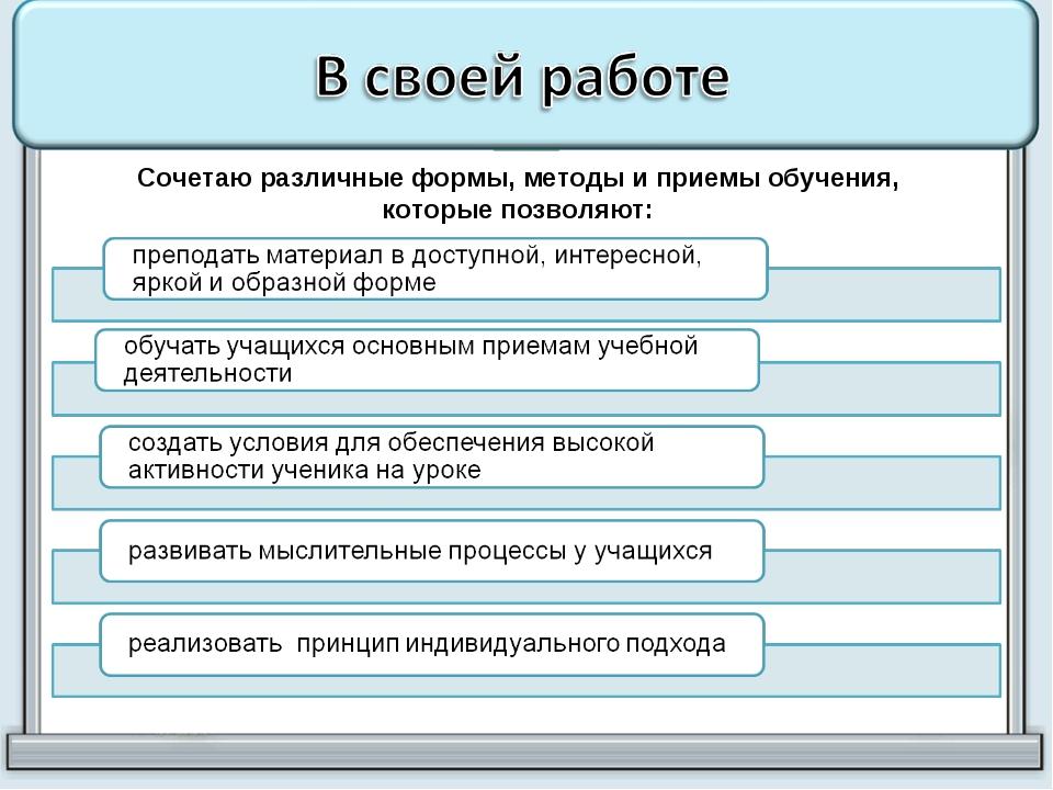 Сочетаю различные формы, методы и приемы обучения, которые позволяют: