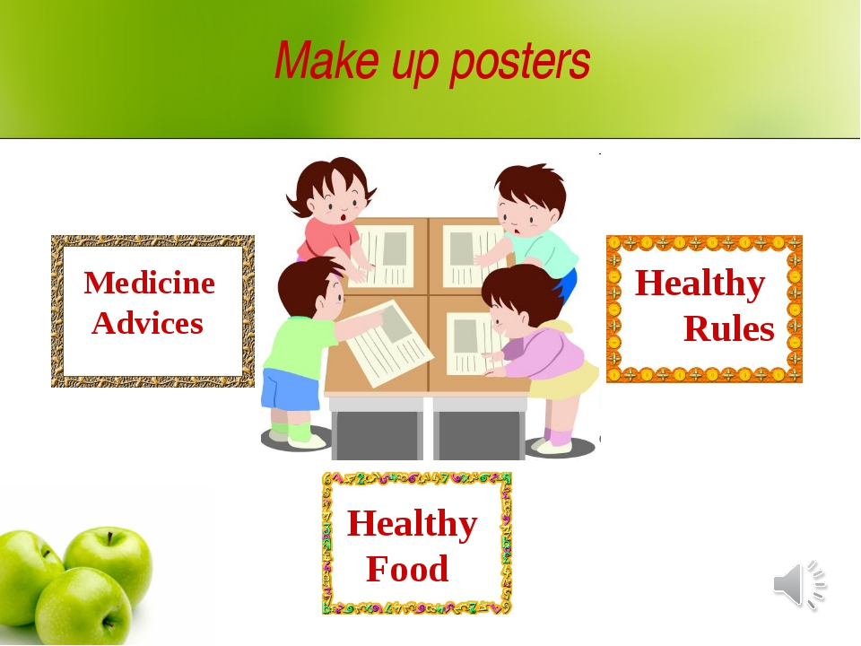 Make up posters Medicine Advices Healthy Rules Healthy Food