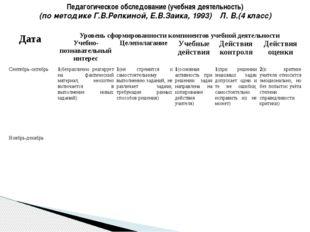 Педагогическое обследование (учебная деятельность) (по методике Г.В.Репкиной,