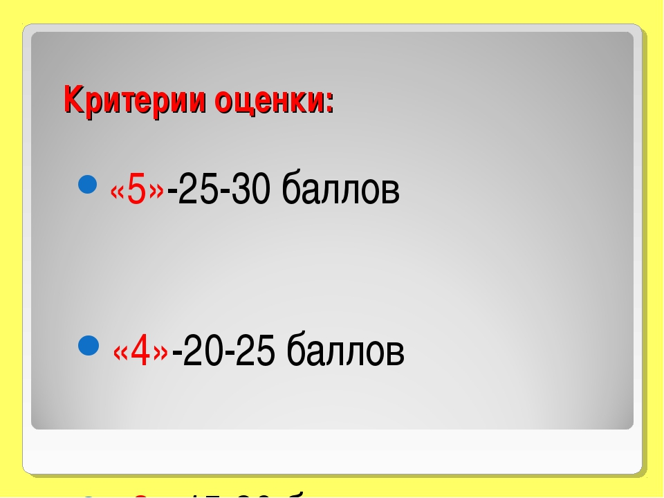 Критерии оценки: «5»-25-30 баллов «4»-20-25 баллов «3»-15-20 баллов