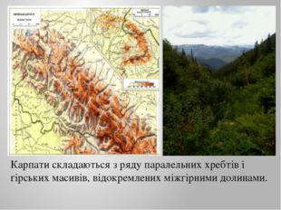 Карпати складаються з ряду паралельних хребтів і гірських масивів, відокремле