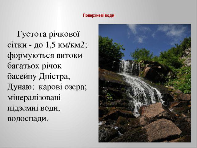 Поверхневі води Густота річкової сітки - до 1,5 км/км2; формуються витоки б...