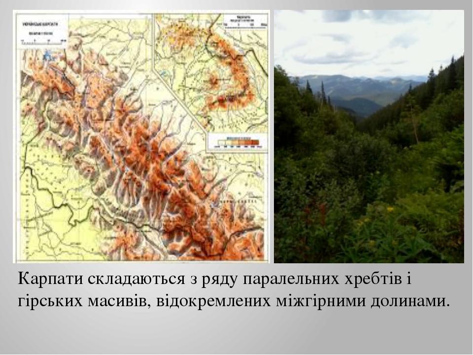 Карпати складаються з ряду паралельних хребтів і гірських масивів, відокремле...