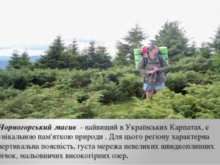 Чорногорський масив - найвищий в Українських Карпатах, є унікальною пам'яткою
