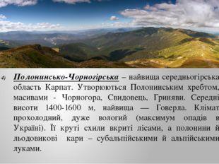 Полонинсько-Чорногірська – найвища середньогірська область Карпат. Утворюють