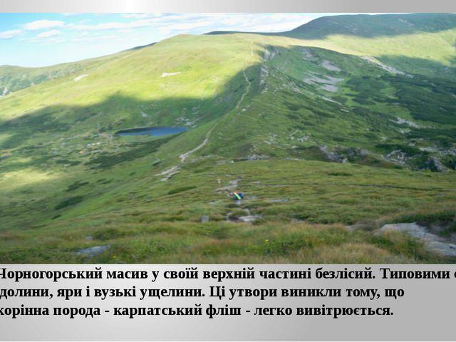 Чорногорський масив у своїй верхній частині безлісий. Типовими є долини, яри...
