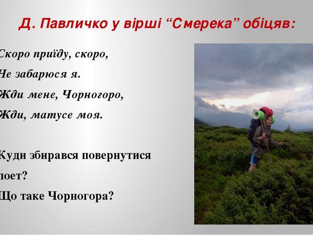 """Д. Павличко у вірші """"Смерека"""" обіцяв: Скоро приїду, скоро, Не забарюся я. Жди..."""