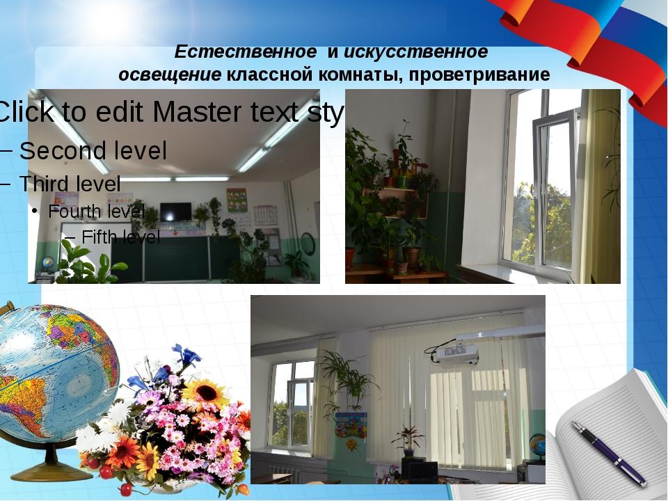 Естественное и искусственное освещение классной комнаты, проветривание