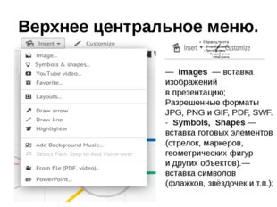 Верхнее центральное меню. —Images — вставка изображений впрезентацию; Раз