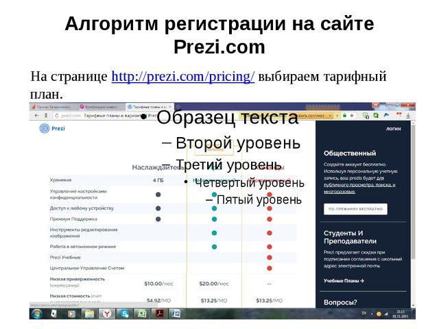 Алгоритм регистрации насайте Prezi.com Настраницеhttp://prezi.com/pricing/...