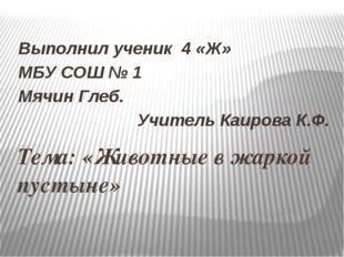 Тема: «Животные в жаркой пустыне» Выполнил ученик 4 «Ж» МБУ СОШ № 1 Мячин Гле
