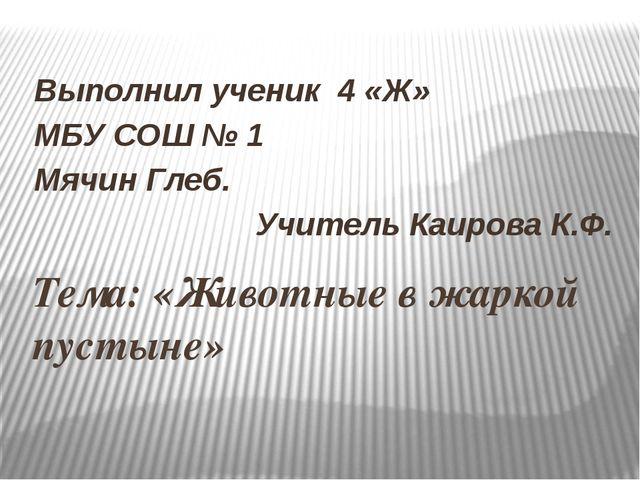Тема: «Животные в жаркой пустыне» Выполнил ученик 4 «Ж» МБУ СОШ № 1 Мячин Гле...
