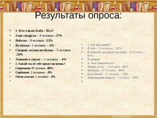 Результаты опроса: 1. Кто такая Баба - Яга? Злая старуха – 9 человек -37% Вед