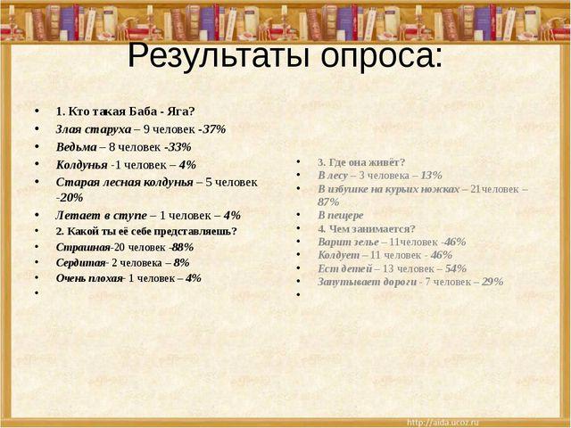 Результаты опроса: 1. Кто такая Баба - Яга? Злая старуха – 9 человек -37% Вед...
