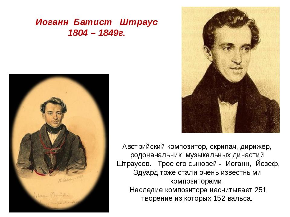 Иоганн Батист Штраус 1804 – 1849г. Австрийский композитор, скрипач, дирижёр,...