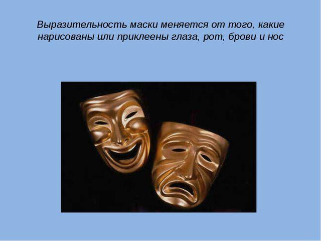 Выразительность маски меняется от того, какие нарисованы или приклеены глаза,...