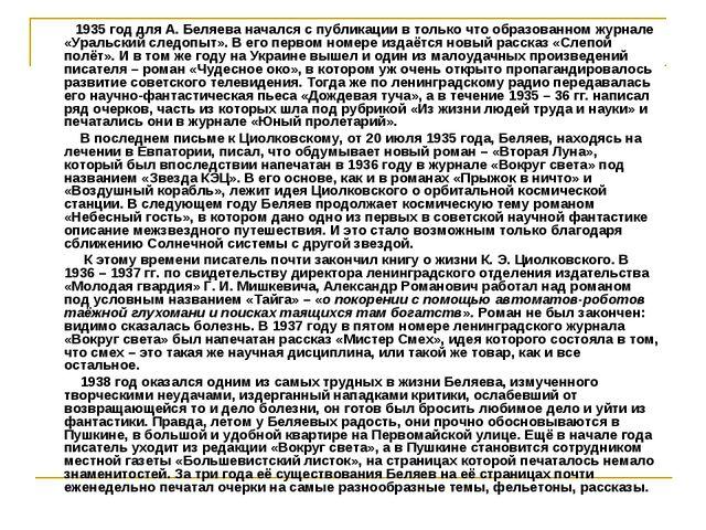 1935 год для А. Беляева начался с публикации в только что образованном журна...