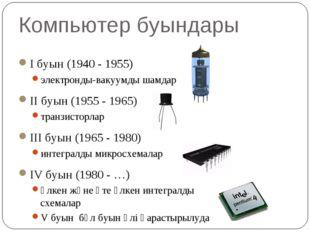 Компьютер буындары I буын (1940 - 1955) электронды-вакуумды шамдар II буын (1