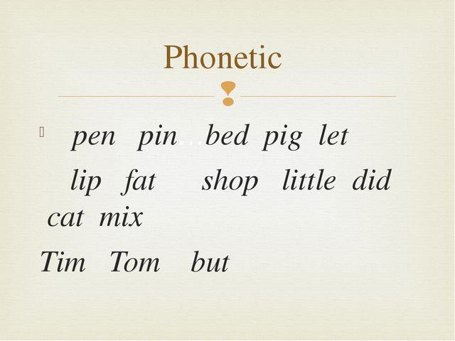 pen  pin…bed pig let   lip  fat shop  little did cat mix   Ti...