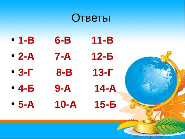 Ответы 1-В 6-В 11-В 2-А 7-А 12-Б 3-Г 8-В 13-Г 4-Б 9-А 14-А 5-А 10-А 15-Б