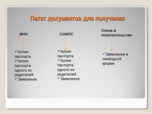 Пакет документов для получения ИНН СНИЛС Опека и попечительство Копия паспорт