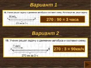 Вариант 1 Вариант 2 270 : 90 = 3 часа 270 : 3 = 90км/ч