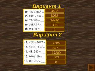 Вариант 1 Вариант 2 3402 8063 24480 305 0 2505 5077 17280 403 0